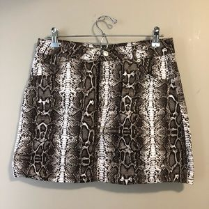 Topshop snakeskin denim mini skirt